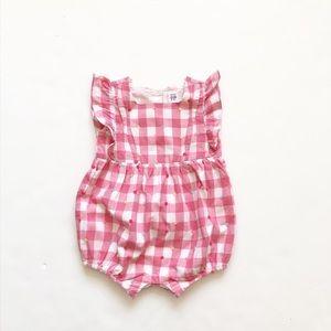 Baby Gap pink gingham Swiss dot romper EUC 18-24m
